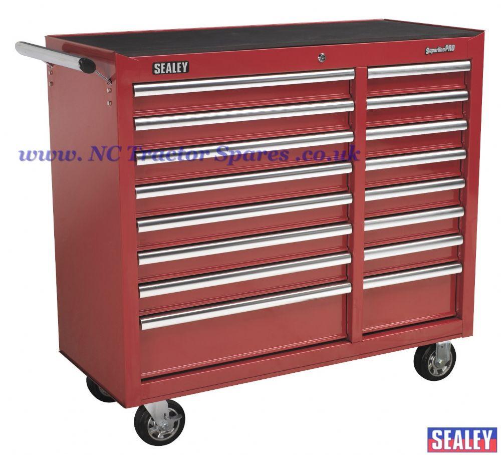 Rollcab 16 Drawer with Ball Bearing Runners Heavy-Duty - Red